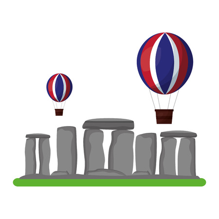 stonehenge monument of great britain with balloon flying vector illustration design Foto de archivo - 112382355