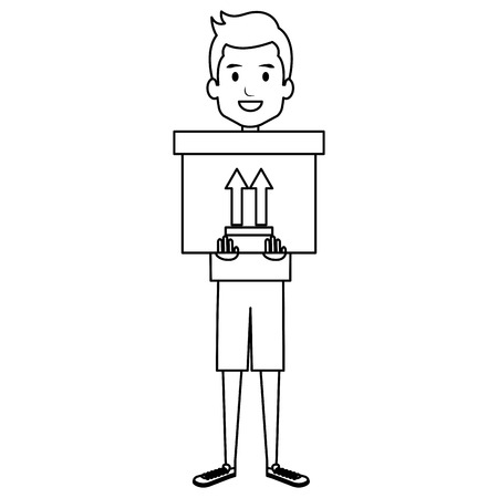 young man with delivery carton box vector illustration design Illustration