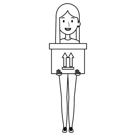 young woman lifting carton box vector illustration design