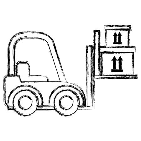 Chariot élévateur de livraison avec des boîtes en carton vector illustration design Vecteurs