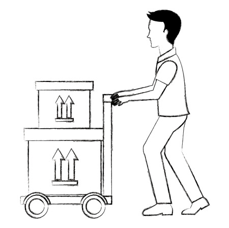 delivery worker with cart and boxes vector illustration design