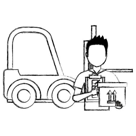 delivery worker with checklist and forklift vector illustration design Ilustração