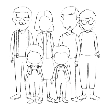 group of cute family members characters vector illustration design 일러스트