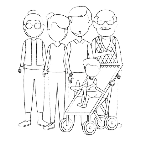 group of cute family members characters vector illustration design Ilustrace