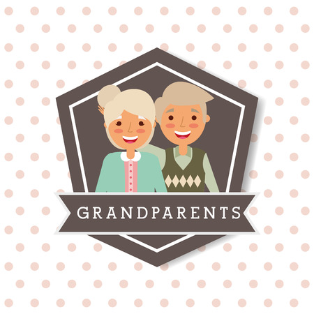 cute lovely grandparents couple emblem vector illustration Ilustração