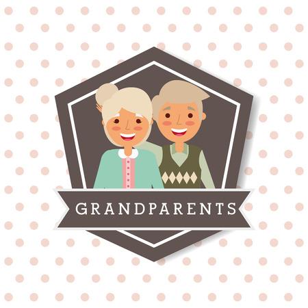 cute lovely grandparents couple emblem vector illustration Illustration