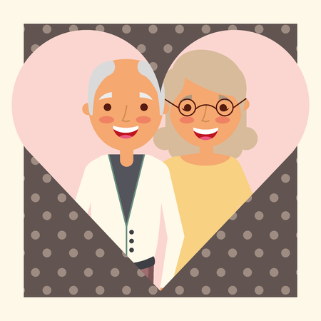 grandparents always together in heart love vector illustration