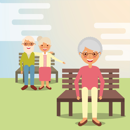 grandparents and grandmother sitting on park bench vector illustration