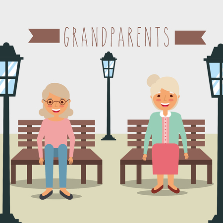 grandmothers sitting on bench in the park lamps vector illustration