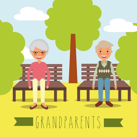 grandparents sitting in the bench park natural landscape vector illustration
