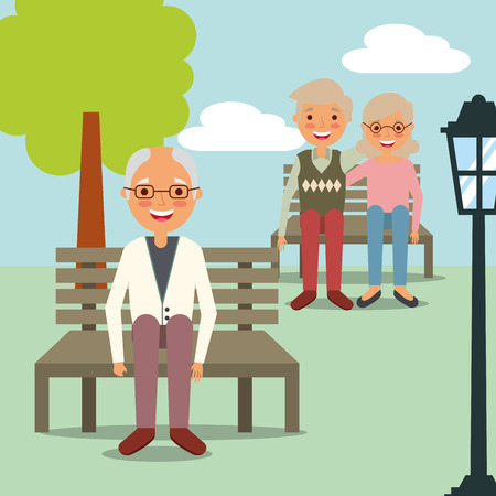 grandfather sitting on bench park and couple grandparents vector illustration