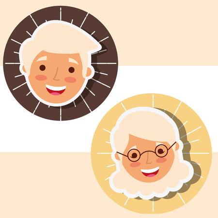 couple grandparents faces characters cartoon vector illustration