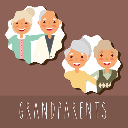 grandparents portrait older man and woman vector illustration