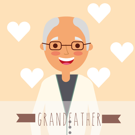 cute bald grandfather in glasses with hearts background vector illustration