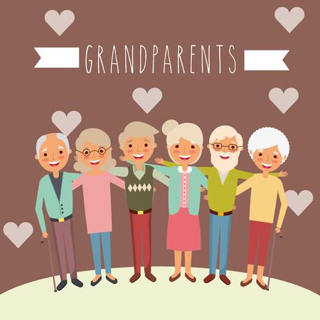 grandparents group embraced happy love hearts vector illustration Illustration