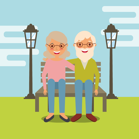 grandparents day man and woman sitting on bench vector illustration