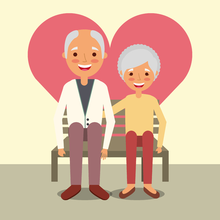 grandparents day man and woman sitting on bench vector illustration Foto de archivo - 112382435