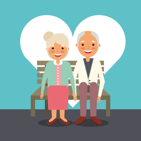 grandparents day man and woman sitting on bench vector illustration 스톡 콘텐츠 - 112382436