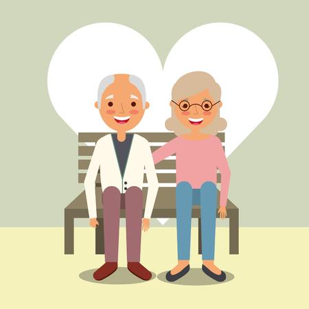día de los abuelos hombre y mujer sentados en la ilustración de vector de banco