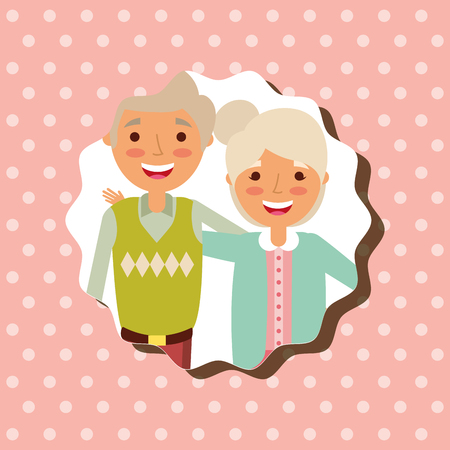 grandparenst day happy grandma and grandpa portrait vector illustration