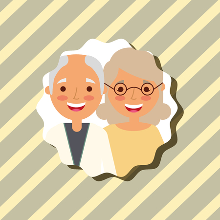 grandparenst day happy grandma and grandpa portrait vector illustration