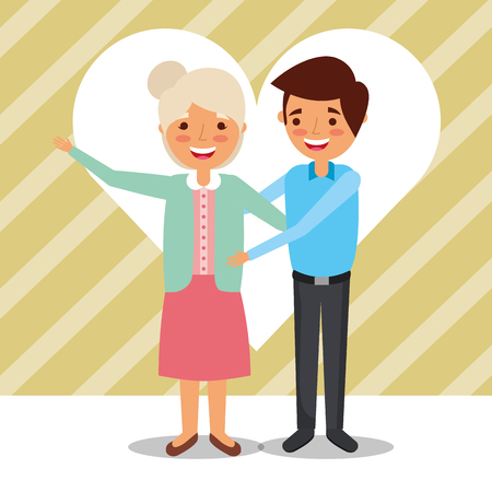 grandpa and grandma embraced happy characters vector illustration