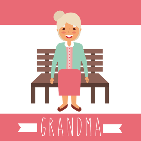 cute grandmother sitting in the bench vector illustration