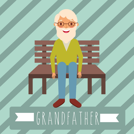 grandfather older man sitting in the bench vector illustration