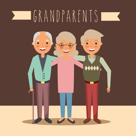 grandparents day celebration group older man and woman vector illustration Banque d'images - 112382450