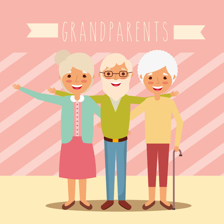 grandparents day celebration group older man and woman vector illustration