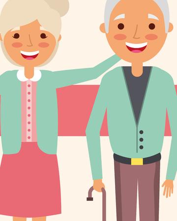 grandpa and grandma embraced happy characters vector illustration Imagens - 112382452