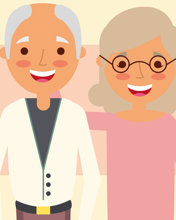 grandpa and grandma embraced happy characters vector illustration