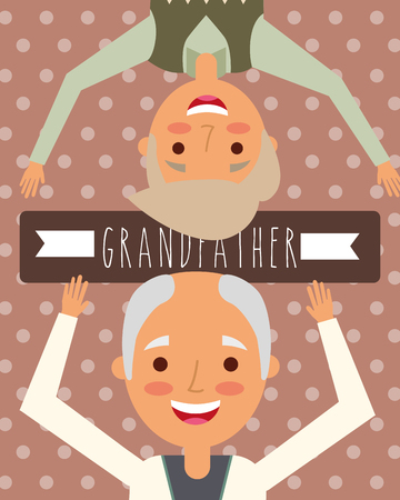 two grandfathers old men grandparents day vector illustration