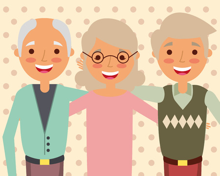 grandparents day celebration group older man and woman vector illustration Banque d'images - 105640008