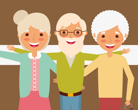 grandparents day celebration group older man and woman vector illustration