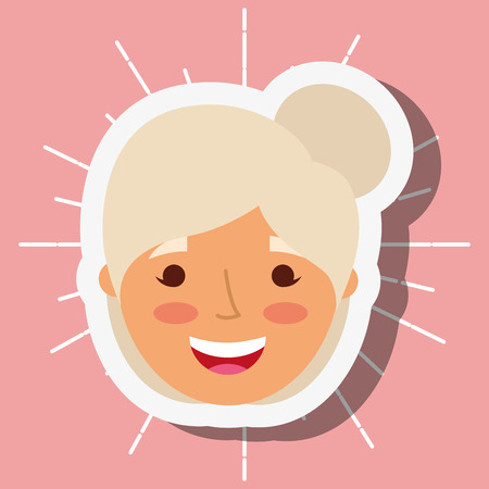 cute smiling face grandmother cartoon vector illustration