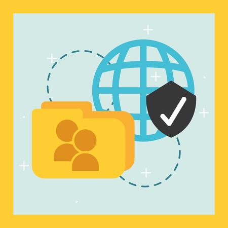 folder contacts global check data vector illustration
