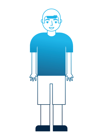 young boy character in short pants and shirt vector illustration blue neon  イラスト・ベクター素材
