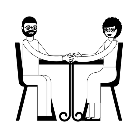 grandpa and grandma holding hands in the table vector illustration Imagens - 105545577
