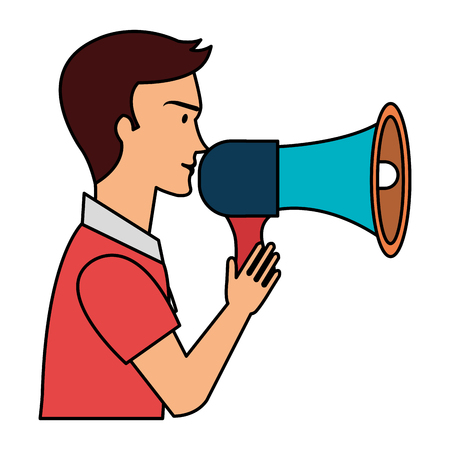 man talking with megaphone sound vector illustration design Banque d'images - 112382491