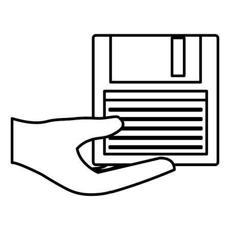 mains avec conception d & # 39; illustration vectorielle disquette