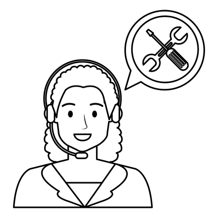 call center woman with speech bubble and tools vector illustration design Illustration