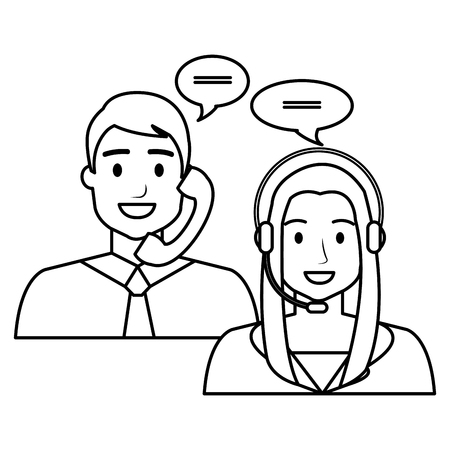 call center agents avatars characters vector illustration design