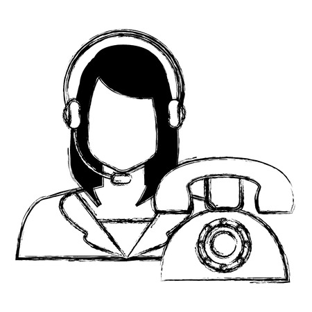 call center woman with headset and telephone vector illustration design Stok Fotoğraf - 112382581