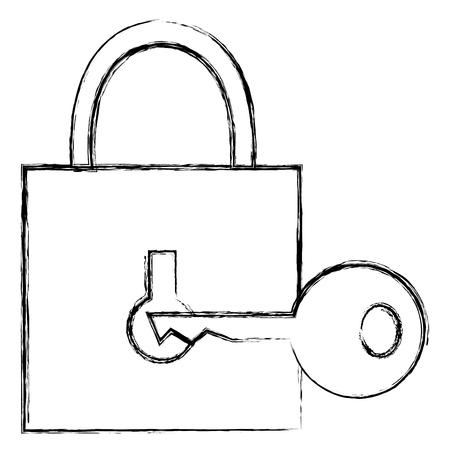 lucchetto sicuro sicuro con progettazione dell'illustrazione di vettore chiave