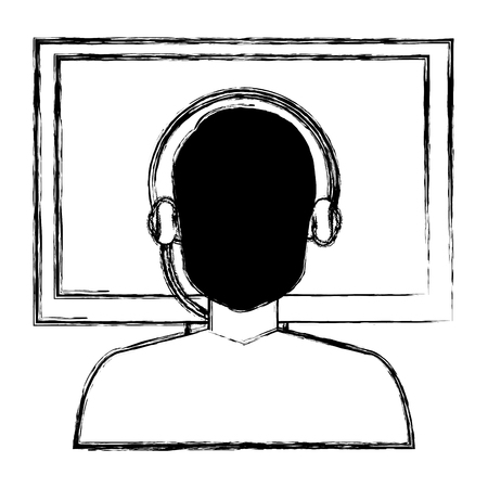 call center agent with headset and display vector illustration design