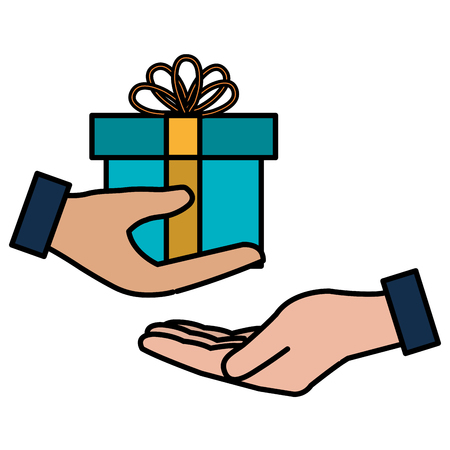 hand with gift box present vector illustration design Illustration