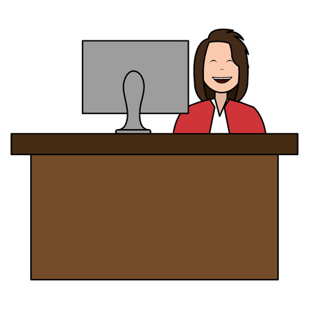 businesswoman in the office character vector illustration design