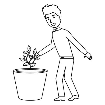 man cultivating plant character vector illustration design 写真素材