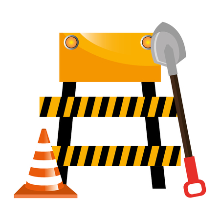 construction barricade with cone and shovel vector illustration design